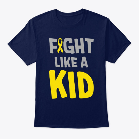 Fight Like A Kid Gold Ribbon Childhood C Navy T-Shirt Front