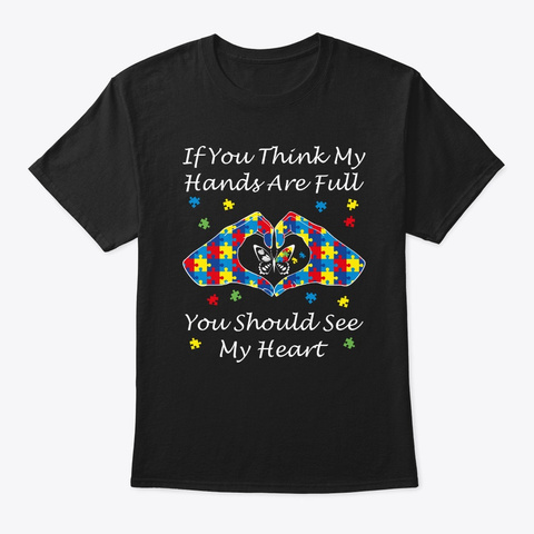 Autism Awareness Kindness Art Think My H Black T-Shirt Front
