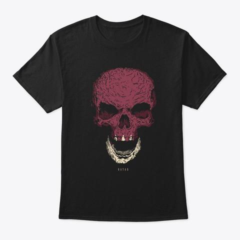 Skull Qatar Flag Skeleton Black T-Shirt Front