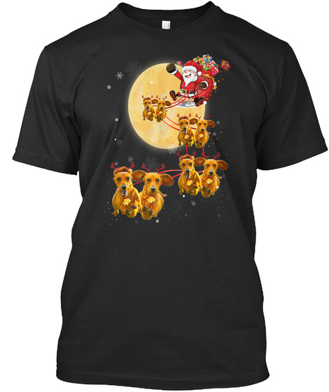 Christmas Reindeer Dachshund Dog Shirts Black T-Shirt Front