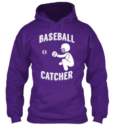 Hoodie Baseball Catcher Player Purple T-Shirt Front