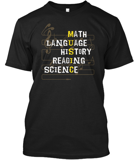Math Language History Reading Science Black T-Shirt Front