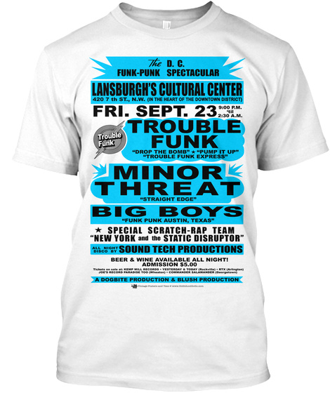 Lansburgh Center   Trouble Funk White T-Shirt Front