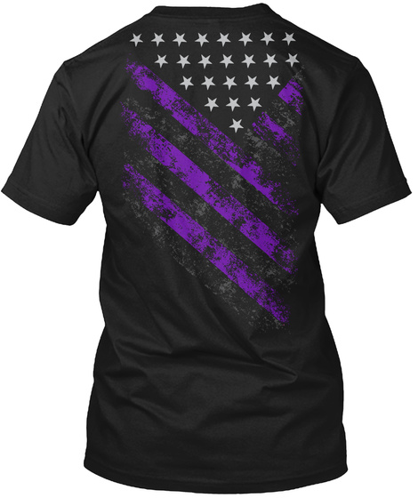 Purple Line Strong! Epilepsy Awareness Black T-Shirt Back