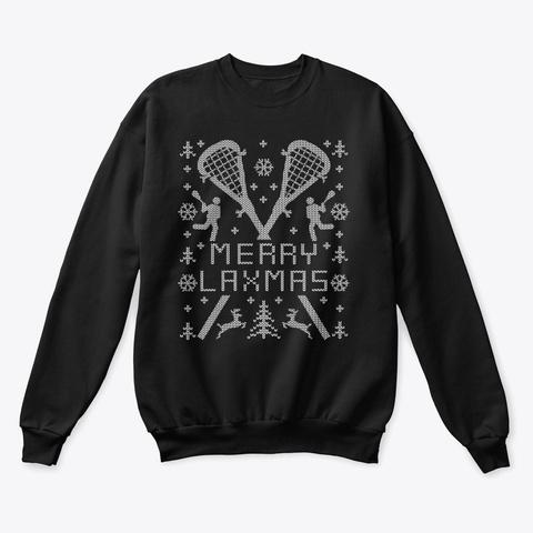 Merry Laxmas Lax Lacrosse Christmas  Black T-Shirt Front