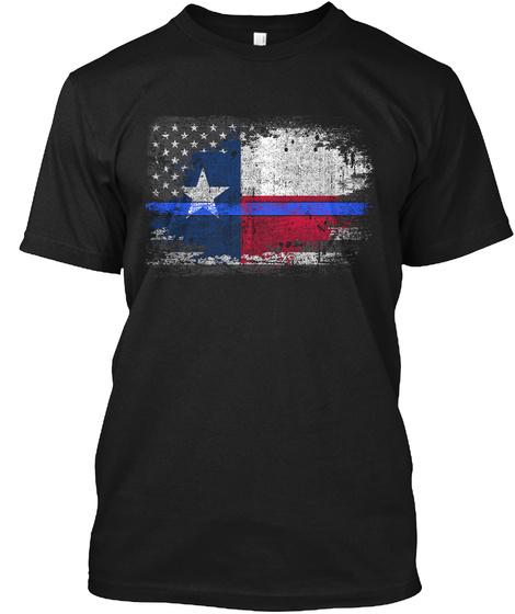 Texas Thin Blue Line Flag Black T-Shirt Front