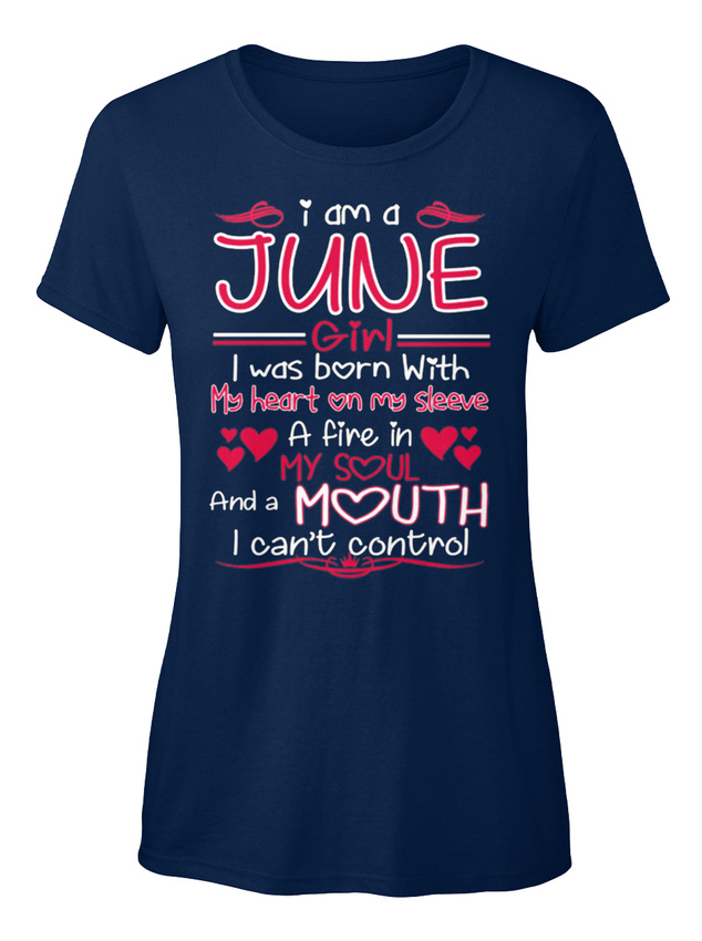 Stylish I Am A June Girl Was Born With My Heart On Standard Women/'s T-shirt