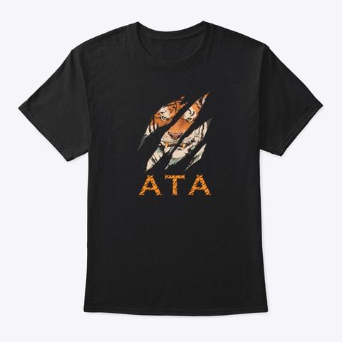 Tiger Face Ata T Shirt  Black T-Shirt Front