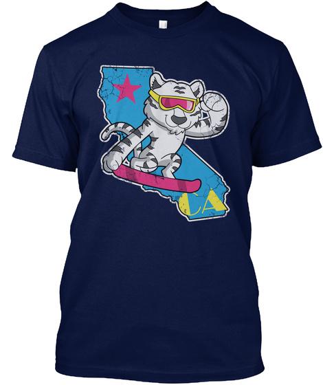 Snowboarding White Tiger California Navy T-Shirt Front