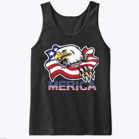 4th Of July Tank Top Eagle American Flag Black T-Shirt Front