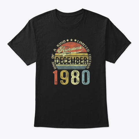 Vintage December 1980 Awesome Birthday Black T-Shirt Front