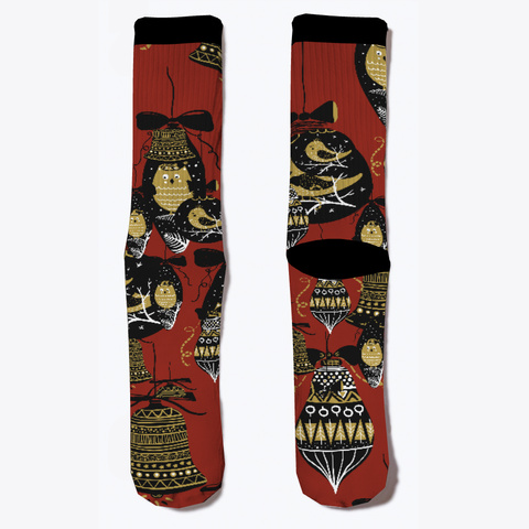 Xmaz001 Funky Holiday Season Socks Dark Red T-Shirt Front