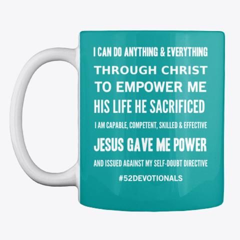 Spiritual Poems by Anna Szabo #52Devotionals I am powerful green mug for Christian Women