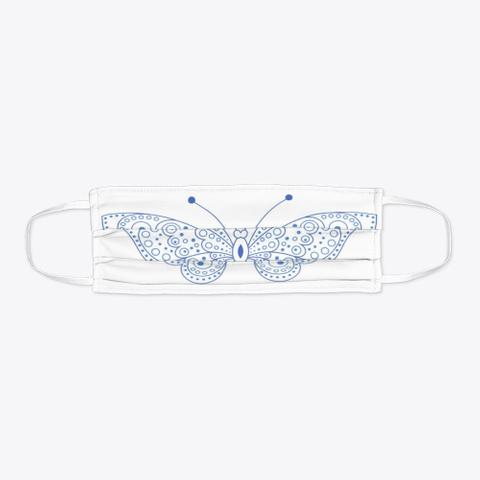 Blue Line Art Butterfly Print Standard T-Shirt Flat