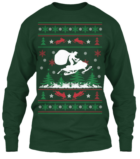 Snowmobile Santa   Limited Edition Forest Green T-Shirt Front