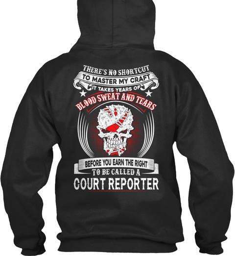 Court Reporter Jet Black T-Shirt Back