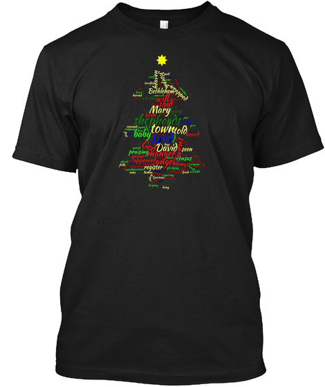 Merry Christmas T Shirt Cool Winter Tree Deer Christmas Tree Black T-Shirt Front