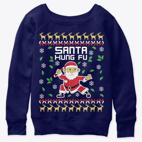 Christmas Ugly Pattern Santa Kung Fu Navy  T-Shirt Front