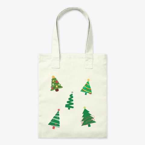 Fun Christmas Tree Design Natural T-Shirt Front