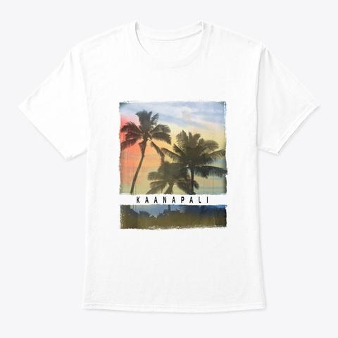 Kaanapali Maui Hawaii Sunset Souvenir White T-Shirt Front