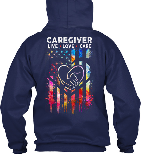 Proud Caregiver Navy T-Shirt Back
