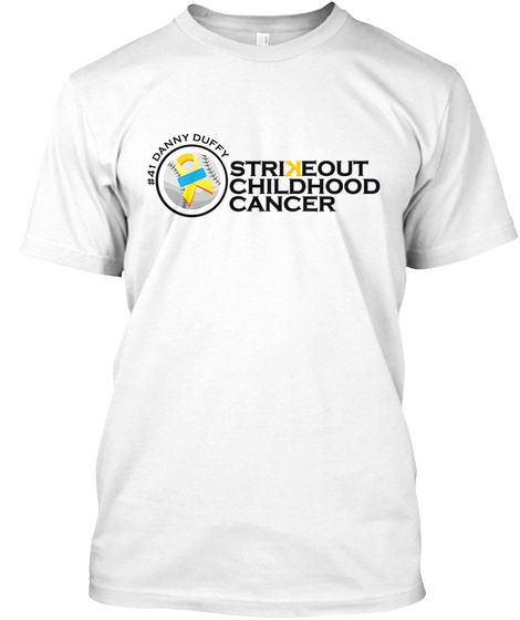 Strikeout Childhood Cancer White T-Shirt Front