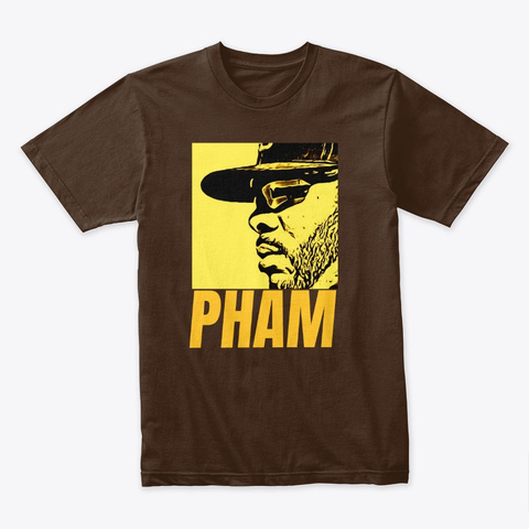 Tommy Pham Friar Lounge Yellow Design Dark Chocolate T-Shirt Front