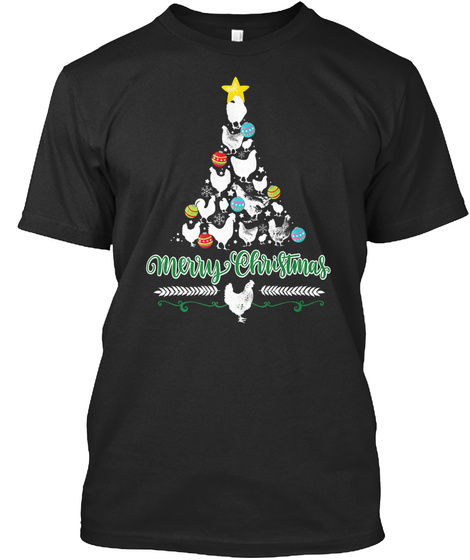Merry Christmas Chicken Tree Holiday Black T-Shirt Front