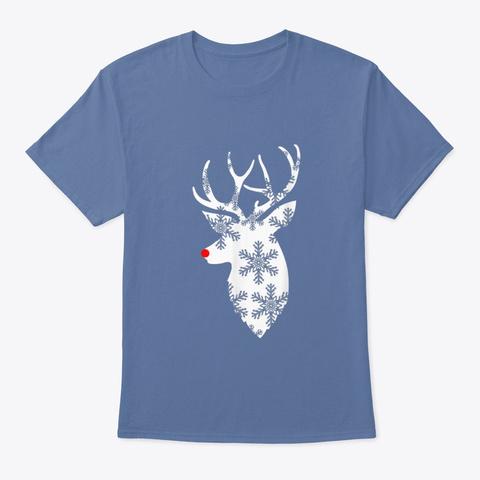 Christmas Deer Christmas T Shirt Denim Blue T-Shirt Front