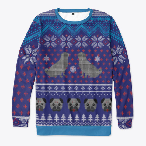 Joy To The Pug Ugly Sweater Denim Blue T-Shirt Front