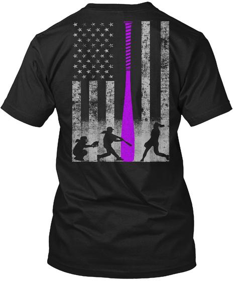 Patriotic Softball Flag W/ Purple Bat Black T-Shirt Back
