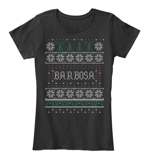 Barbosa Ugly Christmas Sweater Pattern Black T-Shirt Front
