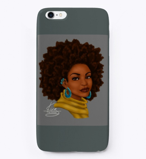 Afro Glow Cell Phone Case Dark Grey T-Shirt Front