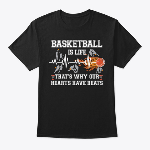 Basketball Lover Gift Hearts Have Beats Black T-Shirt Front