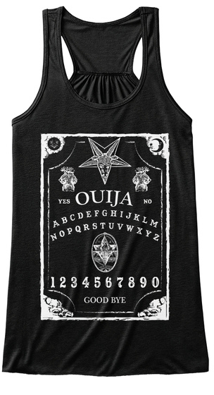 Yes Ouija No Abcdefghijklmnopqrstuvwxyz 1234567890 Good Bye Black T-Shirt Front