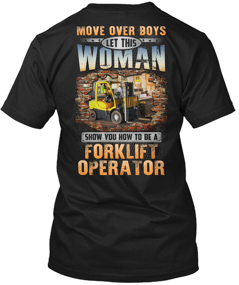 Awesome Forklift Operator Black T-Shirt Back
