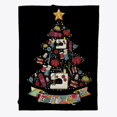 Quilting Christmas Blanket Black T-Shirt Front