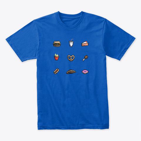 Pixel Retro Junk Food Royal T-Shirt Front