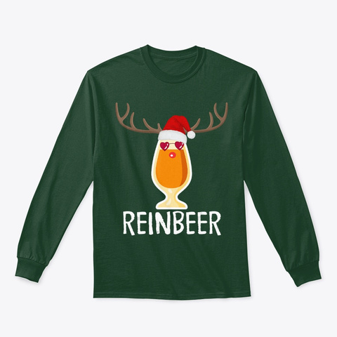 Reinbeer Funny Christmas Gift For Beer Forest Green Camiseta Front