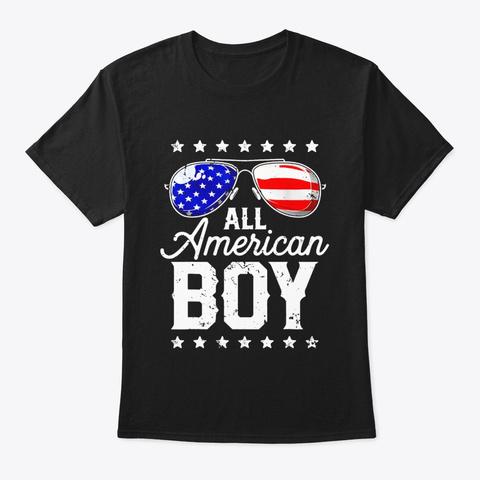 All American Boy 4th Of July T Shirt Black T-Shirt Front