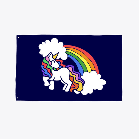 Retro Rainbow Unicorn Dark Navy T-Shirt Front
