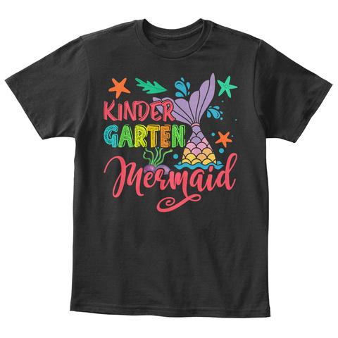 Mermaid Making Waves In Kinder Garten Black T-Shirt Front