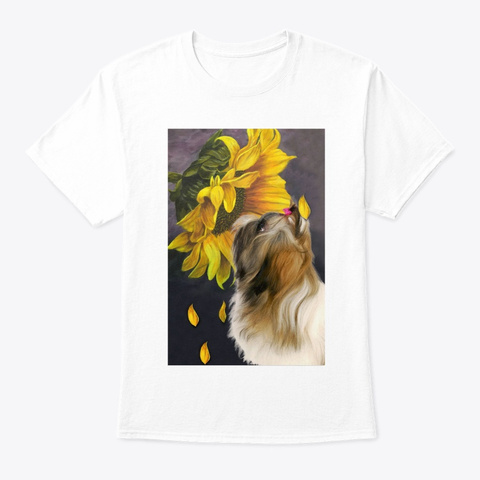 Shih Tzu Sunflower White T-Shirt Front