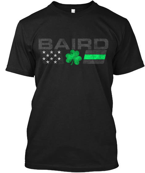 Baird Family: Lucky Clover Flag Black T-Shirt Front