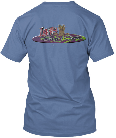 Lennys Surf And Cycle Denim Blue T-Shirt Back