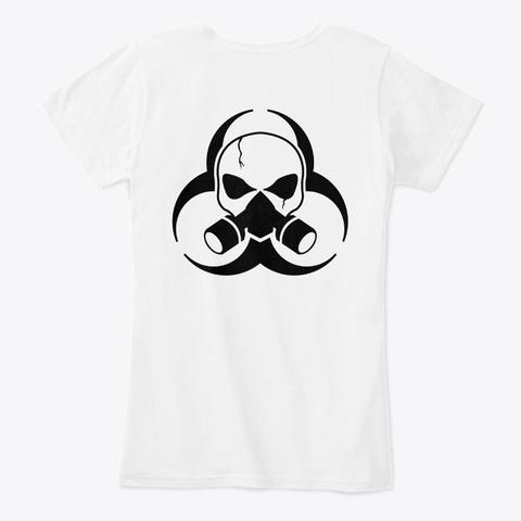 Women's Black Hazard Logo White T-Shirt Back