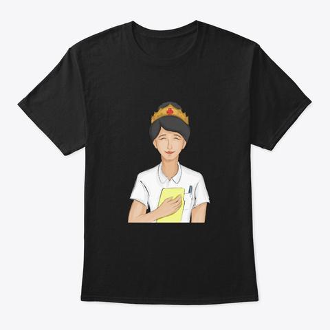 Nurse Nurse Crown Queen Nurse Black T-Shirt Front