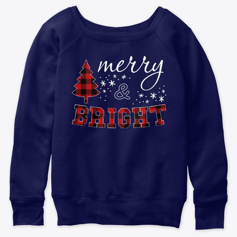 Christmas Gifts For Women Red Plaid Merr Navy  T-Shirt Front