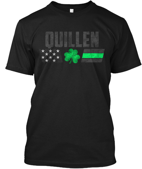 Quillen Family: Lucky Clover Flag Black T-Shirt Front
