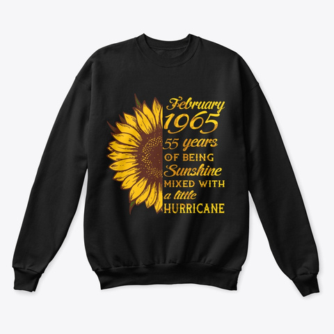February 1965 55 Years Of Being Awesome Black T-Shirt Front